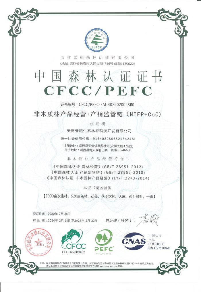 CFCC/PEFC森林体系认证