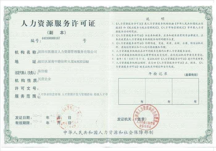 人力资源服务许可证(广州)